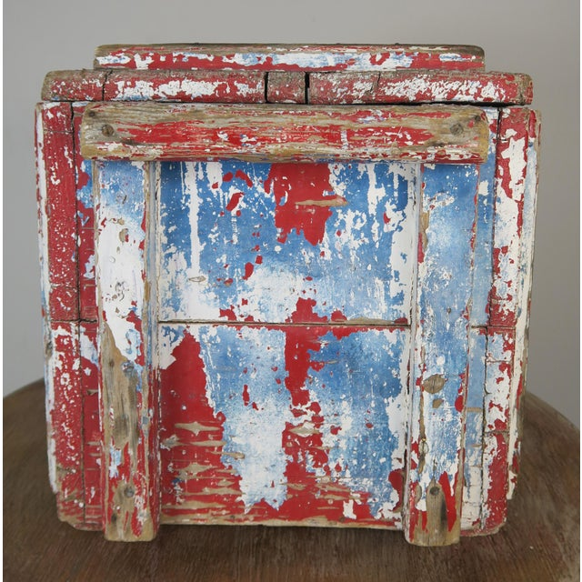 Painted Wood Work Box W/ Metal Clasp and Handles For Sale - Image 4 of 13