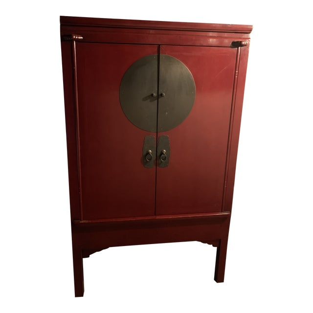 Vintage Chinoiserie Red Painted Armoire For Sale