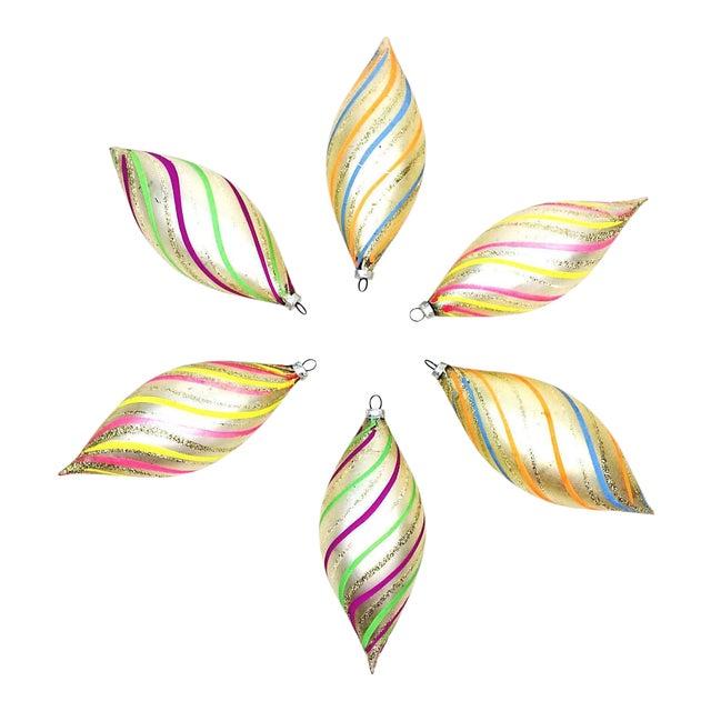 Vintage West Germany Glitter Swirl Teardrop Christmas Ornaments - Set of 6 For Sale