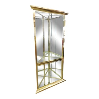Design Institute America Mid-Century Modern Illuminated Display Corner Cabinet