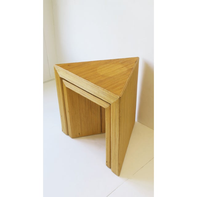 Wicker Rattan Pencil Reed End Tables Nesting Tables For Sale - Image 4 of 13