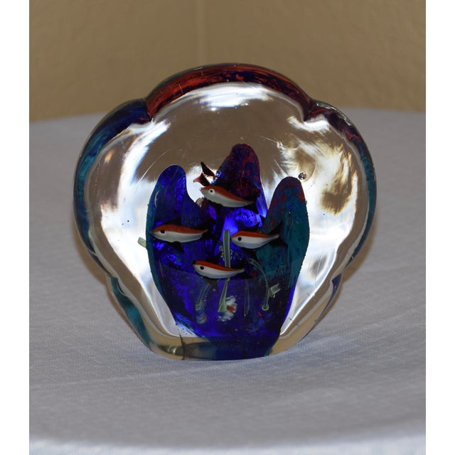 Hollywood Regency Murano Double Sided Fish Aquarium Paperweight For Sale - Image 3 of 6