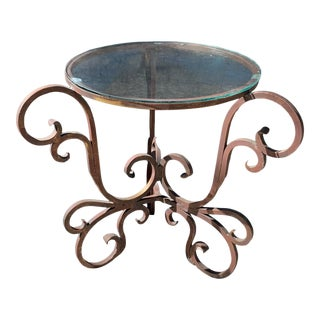 1960s Vintage Italian Round Iron Side Table With Glass Top For Sale