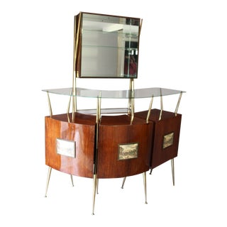 Midcentury Italian Dry Bar Cabinet in the Style of Gio Ponti For Sale
