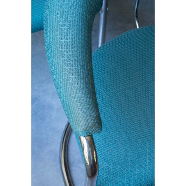 Thonet Tubular Chrome Teal Dining Chairs- Set of 4 - Image 7 of 9
