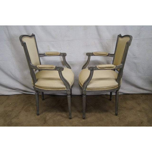 Vintage Painted French Louis XVI Style Dining Chairs - Set of 6 - Image 3 of 10