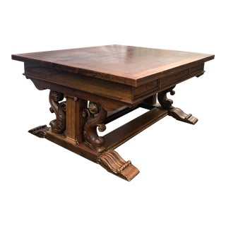 19th-C. Carved English Oak Partner's Desk or Dining Table With Dolphin Base For Sale