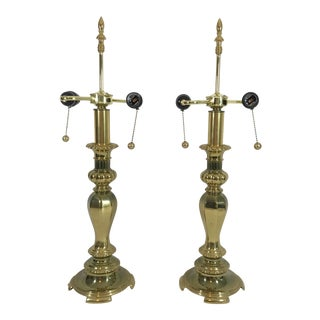 1960s Mid-Century Hollywood Regency Brass Library Candlestick Lamps, a Pair For Sale