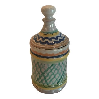Mexican Hand-Painted Ceramic Lidded Canister For Sale
