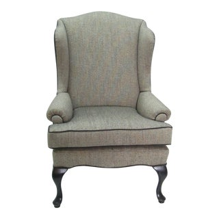 1970s Vintage Gray Wing Back Chair For Sale