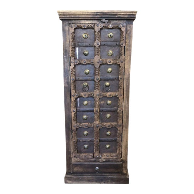 Antique Rustic Primitive Doors Storage Cabinet For Sale