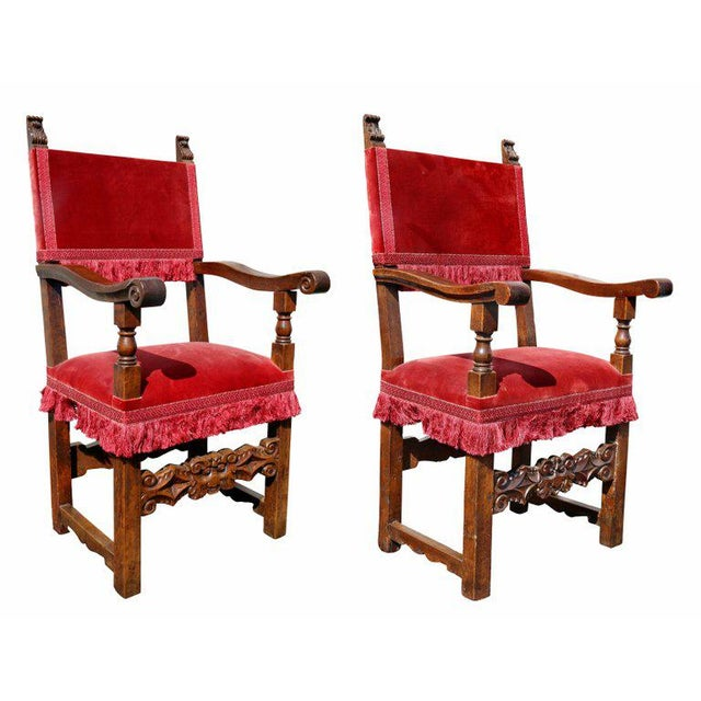 Assembled Set of Six Italian Baroque Walnut Dining Chairs For Sale - Image 11 of 12