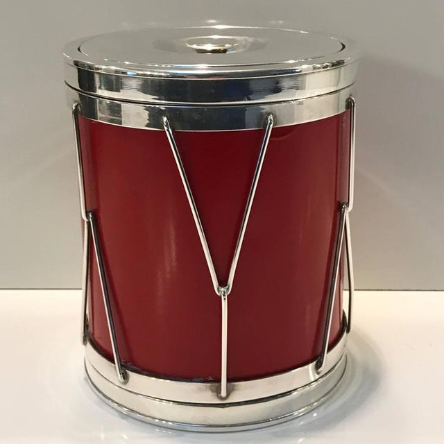 Italian modern silver and leather ice bucket, stylized after a drum, with removable lid revealing a mercury glass...