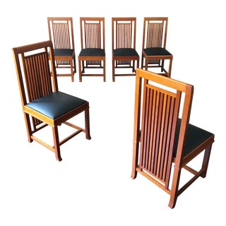 """Frank Loyd Wright for Cassina Model """"614 Coonley 2"""" Dining Chairs - Set of 6 For Sale"""