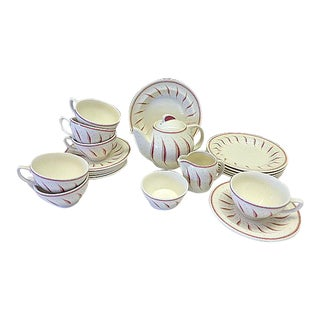 Vintage Wedgwood Pink Fern Susie Cooper Tea Service Set for 5 Teapot Plate Cups & Saucers - 20 Piece Set For Sale