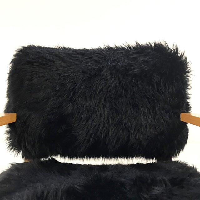 Forsyth One of a Kind Black Sheepskin Armchairs In The Style of Joe Atkinson for Thonet- Pair For Sale In Saint Louis - Image 6 of 7