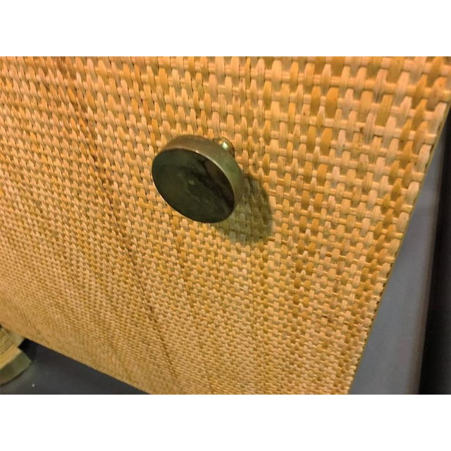 Brown Modern Pair of Rattan & Wicker Brass Accented Etageres For Sale - Image 8 of 10