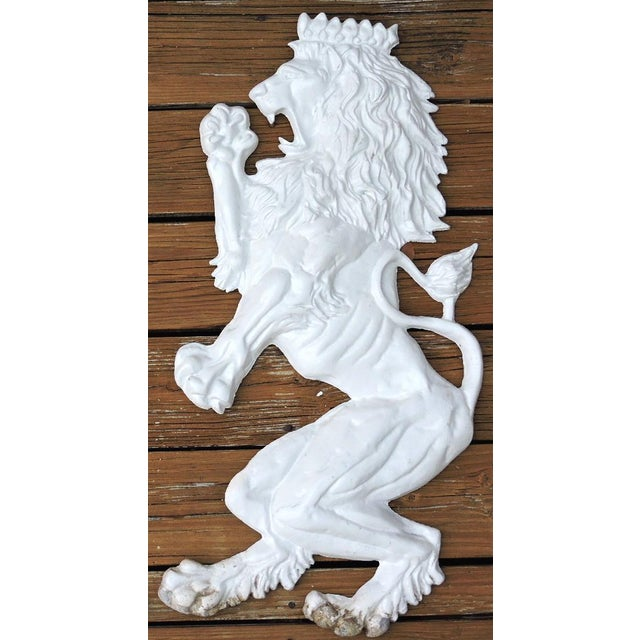 20th Century Large White Lion Aluminium Wall Hangings or Emblems - a Pair For Sale - Image 4 of 5