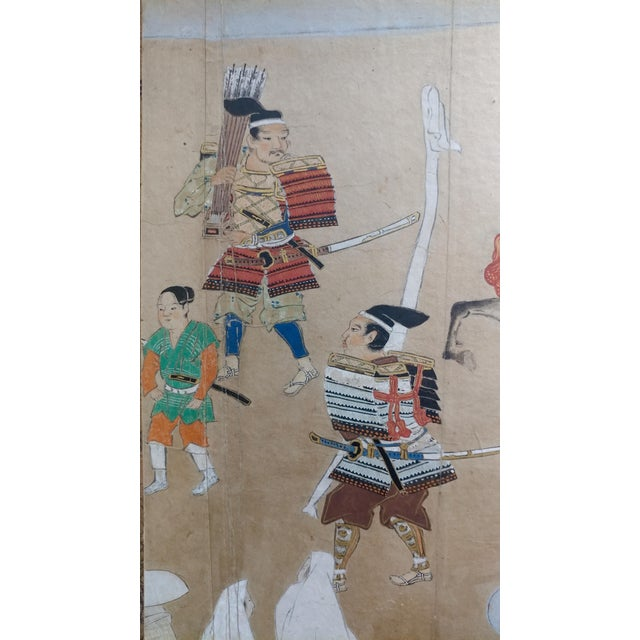 Oil Pastel Chinese Antique Paintings on Paper - a Pair For Sale - Image 7 of 10