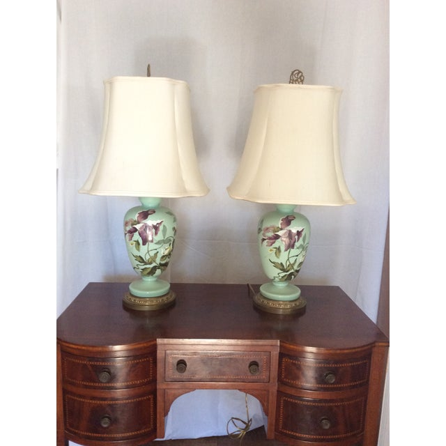 1930s Hand Painted Porcelain Lamps - a Pair For Sale - Image 11 of 12