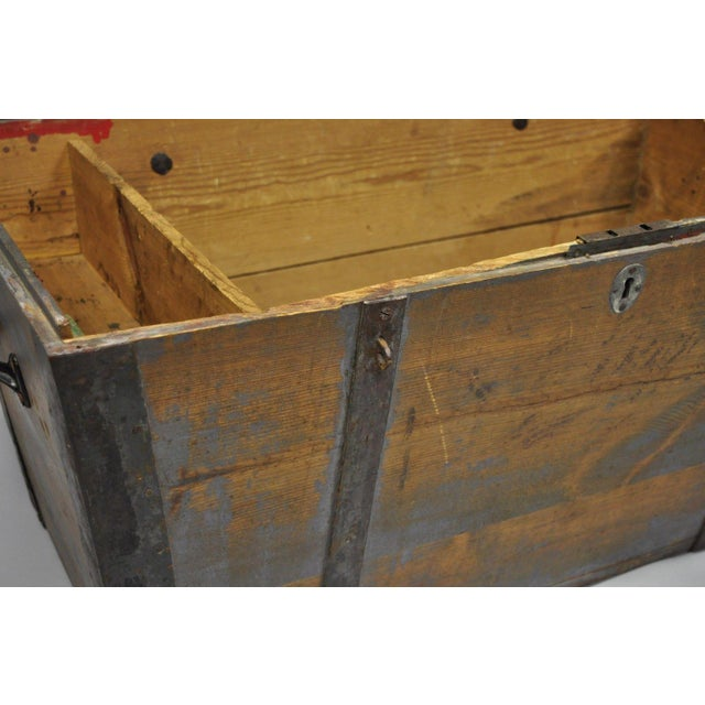 Late 19th Century Antique Primitive Wooden Trunk/Blanket Chest For Sale - Image 10 of 13