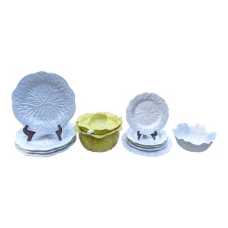 Vintage Portugal Majolica Cabbageware Serving Bowls and Plates - 10 Pieces For Sale