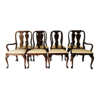 Walnut Queen-Anne Dining Chairs Set-8 (2-Arm Chairs) Excellent Need Re-Upholstery For Sale