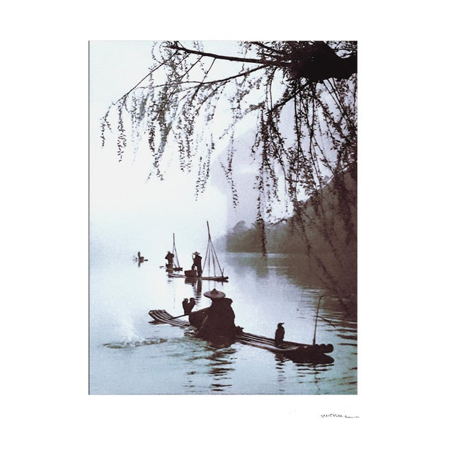 "Asian ""Village Fisherman"" Signed Matted and Framed Photographic Print in Ebonized Faux Bamboo For Sale - Image 3 of 9"