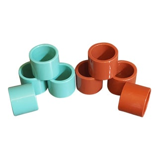 Mid-Century Modern Turquoise & Reddish Brown Plastic Napkin Rings - Set of 8
