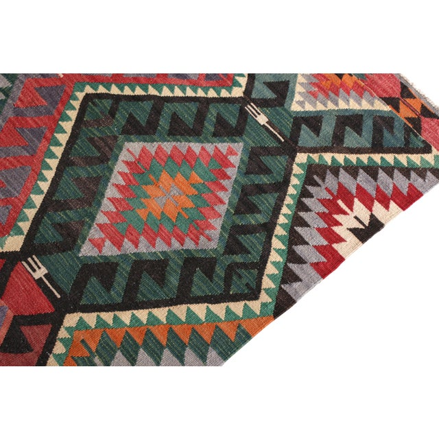 Rug & Kilim Mid-Century Vintage Kilim Rug in Green Pink Multicolor Tribal Geometric Pattern For Sale - Image 4 of 5