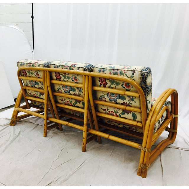 Green Vintage Mid-Century Rattan Sofa For Sale - Image 8 of 8