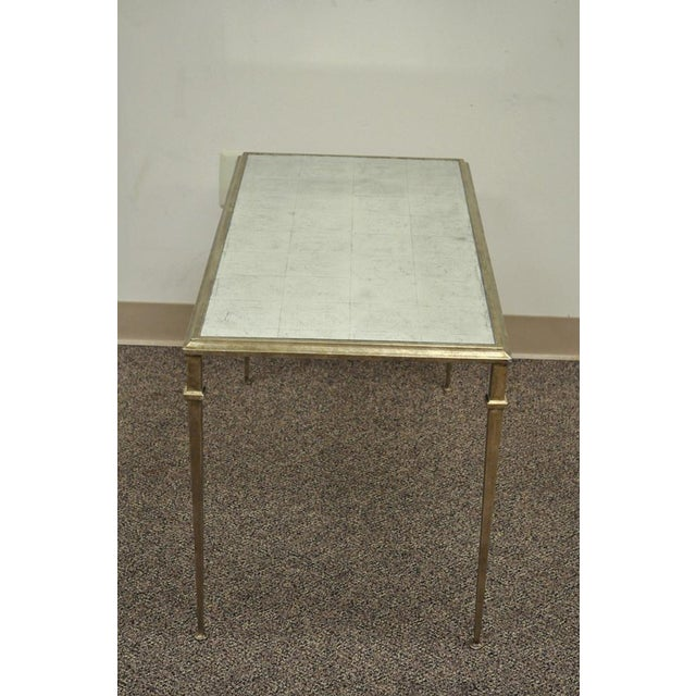 Neoclassical Style Gilt Metal Silver Leaf Mirror Top Coffee Table - Image 8 of 11