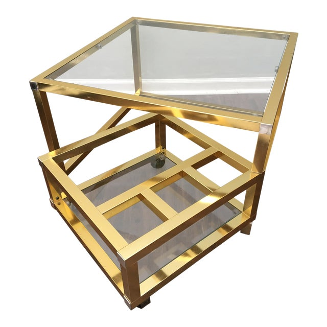 Coffee Table Wine Rack.Cubist Brass Swivel Coffee Table With Wine Rack After Milo Baughman