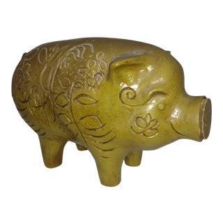1970s Vintage Green Piggy Bank California Pottery