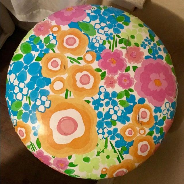 Vintage Floral Print Vinyl Stool - Image 3 of 3