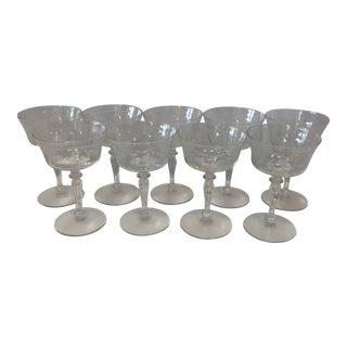 Bohemian Cut Glass Stemmed Dessert Cups - Set of 9 For Sale