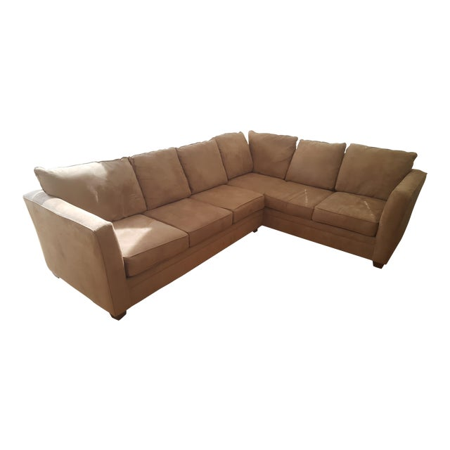 Macy's L-Shaped Suede Sectional Sofa For Sale