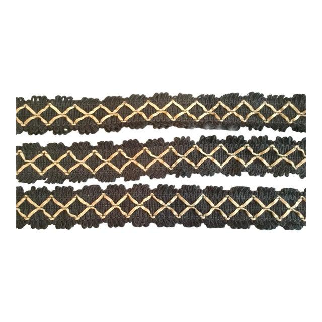 Kravet Black Flat Textile Trim With Beige Ultrasuede Diamonds For Sale
