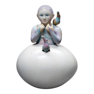 Sergio Bustamonte Woman in Egg Sculpture For Sale