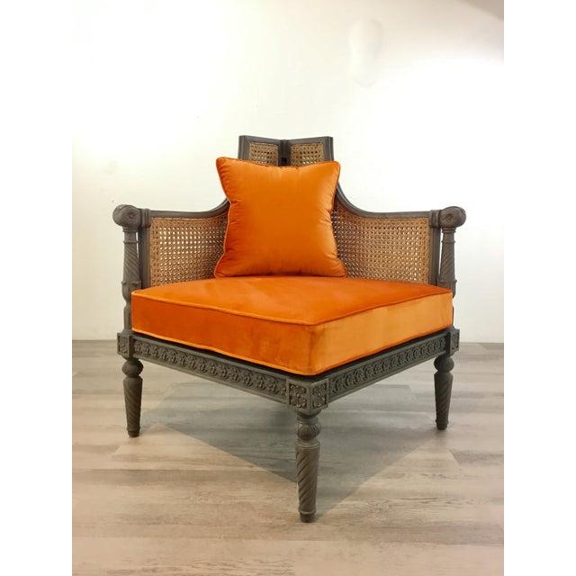 Wood French Style Cane Back Orange Velvet Corner Chair For Sale - Image 7 of 7