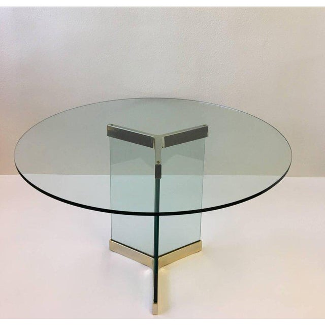 1970s Polished Brass and Glass Dining Table by Leon Rosen for Pace Collection For Sale - Image 5 of 8