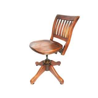 1910s Antique Industrial Wood Swiveling Adjustable Solid Wooden Desk Chair For Sale