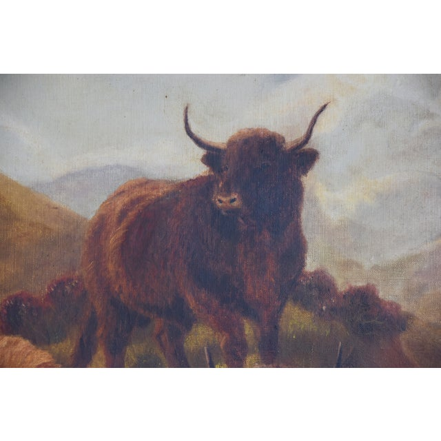 97ef9b4816c Vintage Scottish Highland Cattle Oil Painting For Sale - Image 9 of 11