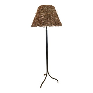 Antique French Vintage Directoire Steel Floor Lamp With Feather Shade For Sale