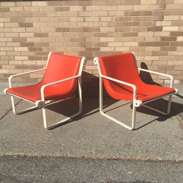 Danish Modern Knoll Iconic Orange Shell Lounge Chairs - A Pair For Sale - Image 3 of 8