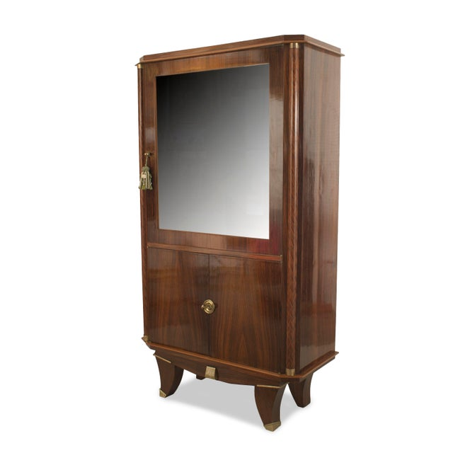 Wood French Art Deco Palisander Wood Display Vitrine Cabinet For Sale - Image 7 of 7