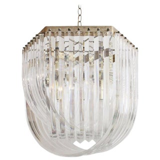 Lucite Ribbon Chandelier For Sale
