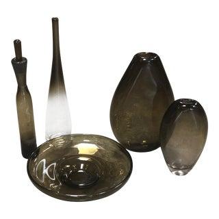 1970s Vintage Italian Mid-Century Light Brown Glass Vases - Set of 5 For Sale