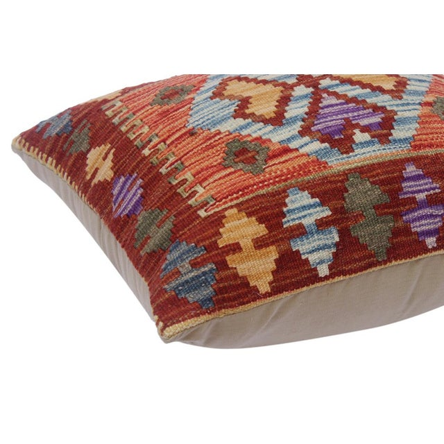 """Asian Charmain Red/Rust Hand-Woven Kilim Throw Pillow(18""""x18"""") For Sale - Image 3 of 6"""