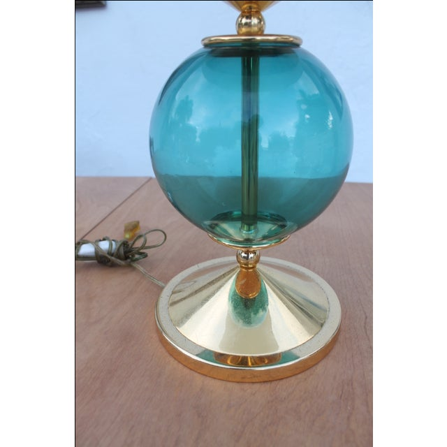 Contemporary Blue and Brass Lacquered Table Lamp - Image 7 of 11